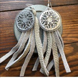 Jewelry - Handmade leather fringe earrings BOHO tassel fun!
